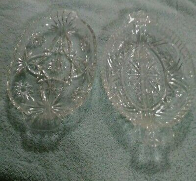"""2 Vintage Lead Crystal Oval Divided Relish 10"""" Serving Dishes"""