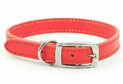 Ancol Heritage Sewn/Half Lined Leather Dog Collar Red
