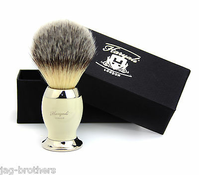 Synthetic Hair Shaving Brush Ivory & Silver Handle with Beautiful Present Box