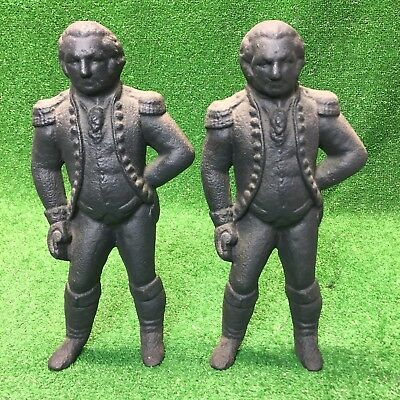 Antique Cast Iron George Washington Andirons Statues Figures Fire Dogs Vtg