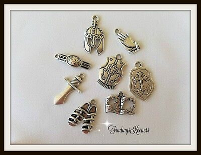 10 Armor Of GOD Charm Sets Antique Silver Tone Metal US Seller  ts020