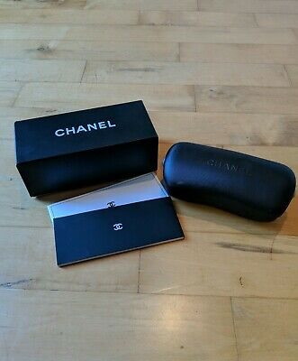 Chanel Sunglass Case with Box Black Hard Case Clam Shell Made In Italy
