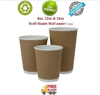 8/12/16oz Disposable Kraft Ripple Cup Coffee Cup Paper Cups  For Hot Cold Drinks
