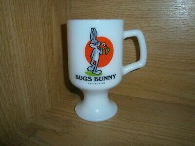 Fire King D Handle Coffee Cup Bugs Bunny Advertising Milk Glass Mug Pedestal Htf