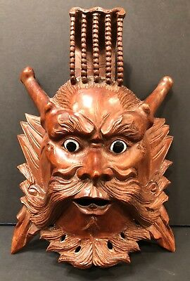 Antique Chinese Emperor rosewood hand carved mask 10""