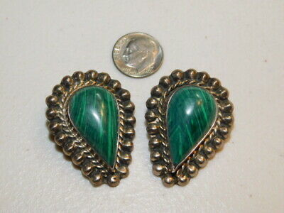 Large Vintage Taxco Sterling Silver and Malachite Clip On Earrings