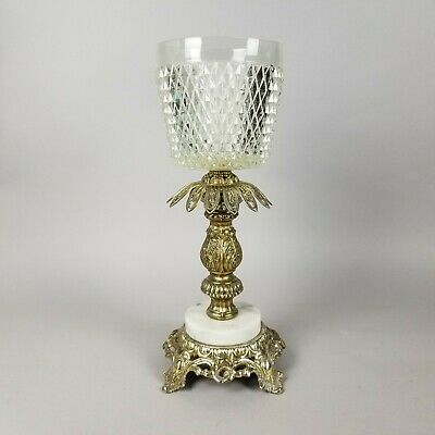 """Large Estate Vintage Cut Crystal Glass Marble Base Bronze Candle Table Lamp, 16"""""""