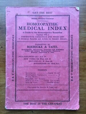 Antique 1917 HOMEOPATHIC MEDICAL INDEX Boericke & Tafel Medicines Pharmacists