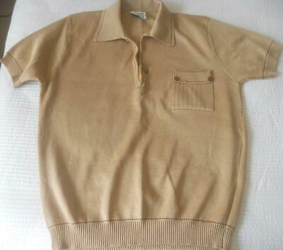 Vintage 1960'S Mens Pilaro Of Rome Beige Knit Zip Front Polo Shirt 18 Os 100 Cm