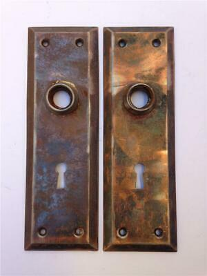 "VINTAGE ANTIQUE RECLAIMED BRASS DOOR 7/"" X 2 1//4/"" BACK PLATE SKELETON KEY HOLE"