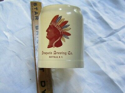 Antique Iroquois Brewery Co. Indian Head Beer Mug Thuemler Mfg Co. ca: 1901-1908