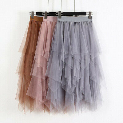 Fashion Women Party Skirt Elastic High Waist Long Tulle Irregular Hem Mesh Skirt