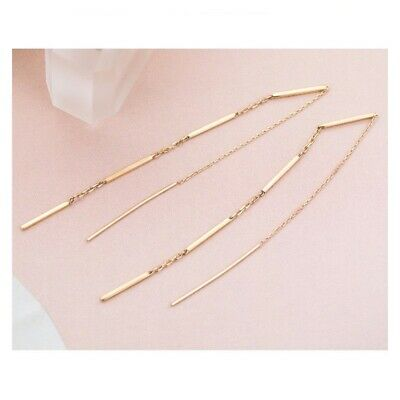 TPD Solid 14K Yellow Gold Stick Road Threader Long Drop Dangle a Pair Earrings