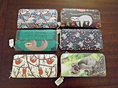 Women All Over Print Zip Around Wallet 12 Card 3 Compartment Wallet Sloth Koala