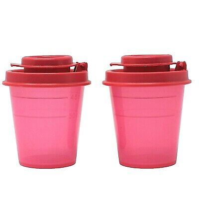 Tupperware Salt and Pepper Shaker Set Small Midget Mini Travel S&P Red New