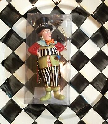 Authentic Mackenzie Childs Mad Hatter Ornament! New! Alice in Wonderland!