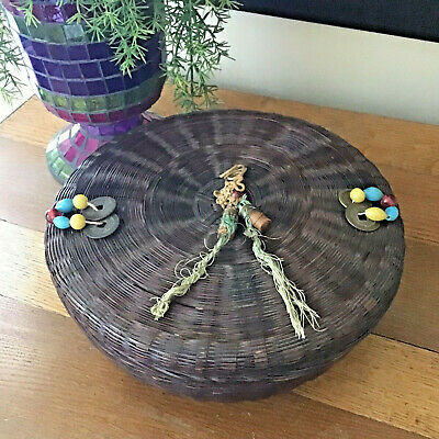 Antique c1910 1920 Chinese Asian Sewing Basket Beads Coins Tassel SEWING ITEMS
