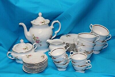 EUC! Wawel Poland Royal Vienna Pompadour Rose Coffee Tea Set - 36 Pieces