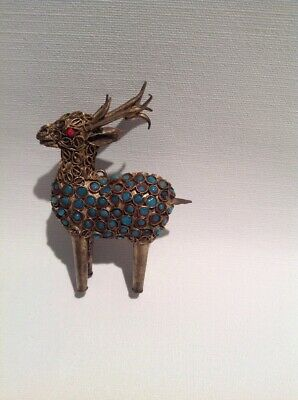 Antique /Vintage Chinese Tibetian  ?Brass  Crafted Deer Figurine