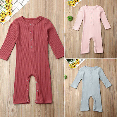 US Newborn Baby Boy Girl Knitted Cotton Romper Jumpsuit One-Pieces Clothes 0-24M