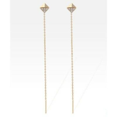TPD Solid 14K Yellow Gold Rhombus Drop Long Threader Dangle a Pair of Earrings
