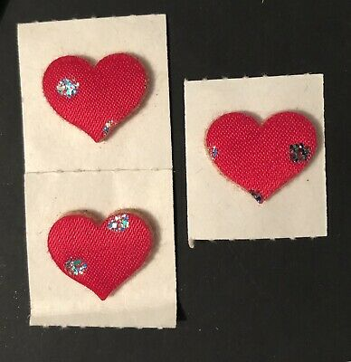 1980's Pink Hearts Satin Glitter Puffy Stickers, New