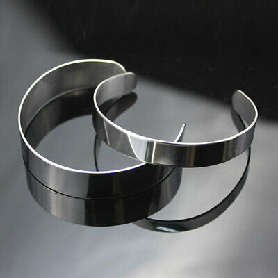 10pcs Blanks Metal Stainless Steel Bracelet Cuff Bangle Open 3-20mm Men Women