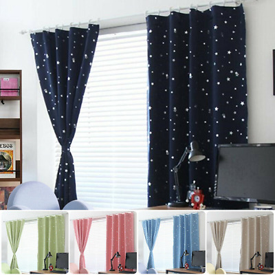 Star Thermal Blackout Curtains PAIR Eyelet Ready Made for Kid Boy Girl Bedroom