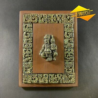 Vintage Zarebski Mayan Aztec Malachite Sculptured Wall Plaque Made In Mexico