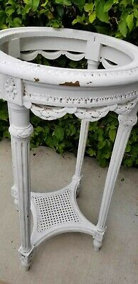 Antique Caned Garlands & Swags Table or Plant holder French Louis XVI Style