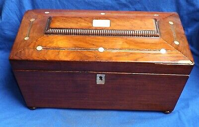 Antique Mother Of Pearl Inlaid Sarcophagus Shaped Tea Caddy