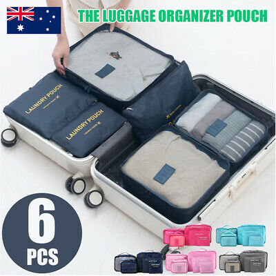 6x PACKING CUBES TRAVEL POUCHES LUGGAGE ORGANISER SUITCASE CLOTHES STORAGE BAGS