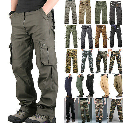 AU Men Combat Tactical Work Cargo Army Pants Military Camo Loose Casual Trousers