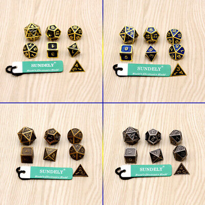 7Pcs/set Antique Metal Polyhedral Dice DND RPG MTG Role Playing Game With Bag UK