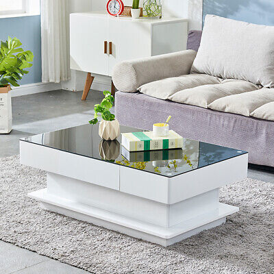 2 Drawers High Gloss Coffee Tables Glass Top End Side Table Living Room Black BN