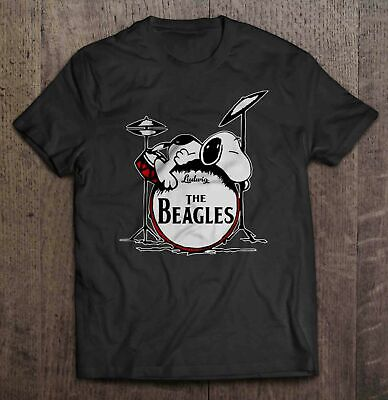 The Beagles Snoopy Sleep On Drumset Funny Black T-Shirt Peanuts Charlie Brown
