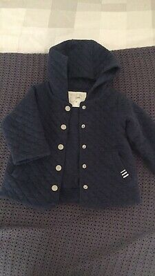 Purebaby navy quilted hooded jacket size 0 (6-12 months)