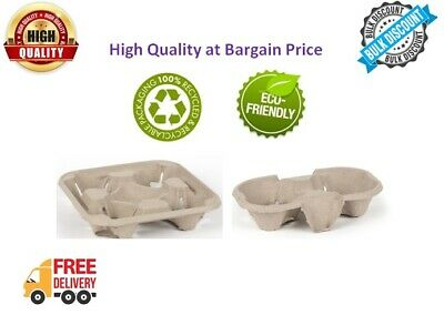 2 Cup  4 Cup Cardboard Holder Tray Pulp Fibre Moulded Hot/Cold Drinks Carrier
