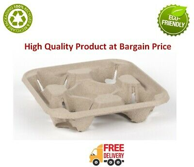 4 Cup Tray Cardboard Holder Paper Cup Moulded Hot/Cold Tea Coffee Drinks Carrier