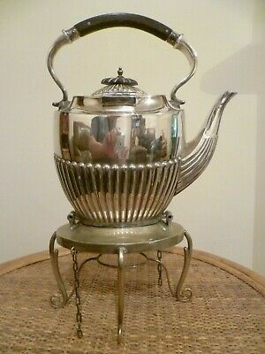 A Victorian Gadrooned Body, Silver Plated Tilting Teapot & Stand. Walker & Hall