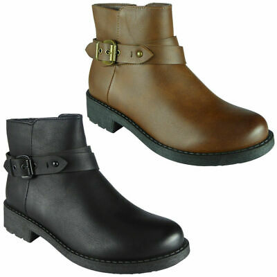 Womens Ankle Boots Ladies Chunky Low Block Heel Chelsea Buckle Strap Shoes Size