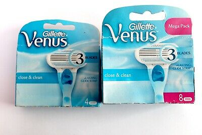 Gillette Venus Close & Clean Razor Blades - Replacement Blades - Choose Amount