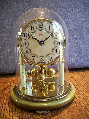 Vintage Koma Brass and Glass Anniversary Clock with Rose Detailed Porcelain Face