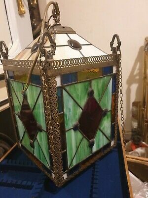 Amazing!! Vintage Antique Brass & Leaded Stained Glass Lantern Ceiling Light