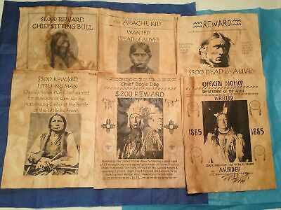 Old West Wanted Poster Native American Indian Sitting Bull Western Geronimo
