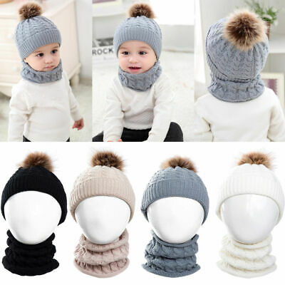 2PCS Toddler Kid Girl Boy Infant Winter Warm Pompom Crochet Knit Hat Neck Warmer