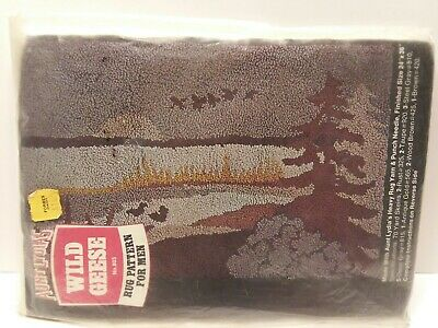 Vtg Aunt Lydia's Heavy Rug Yarn & Punch Needle Pattern For Men Wild Geese #803