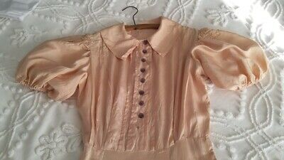 Vintage 1930's Dress Gown Pink Rayon Glass Buttons X-SM Ginger Rogers