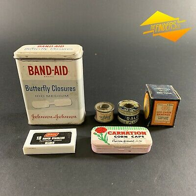 Lot X7 Vintage Medical First Aid Tins & New Old Stock Bandaged Razors Corn Caps
