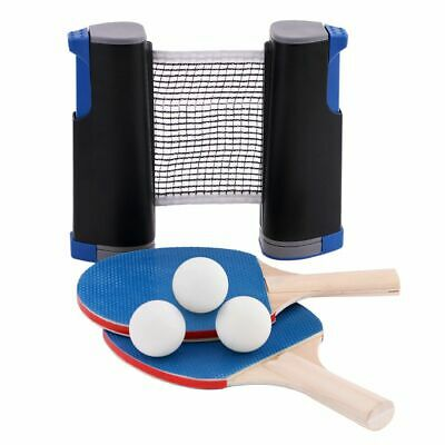 Table Tennis Ping Pong Set 2x Paddle Bats & 3Balls Extending Net Fits Any Table